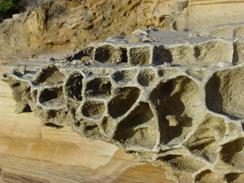 2. Close up of sandstone cliff weathering